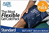 FlexiKold Gel Ice Pack (Standard Large: 10.5' x 14.5') - Two (2) Reusable Cold Therapy Packs (for Pain and Injuries to Knee, Shoulder, Foot, Back, Ankle, Neck, Hip, Wrist) - 6300-COLD