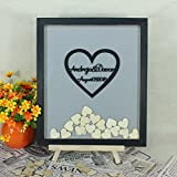 Tamengi Wedding Guest Book Wood,Personalized Wedding Guest Book Alternative,Rustic Heart Guest Book Frame,Custom Drop Box Wedding Decor with 120Pcs Wooden Hearts