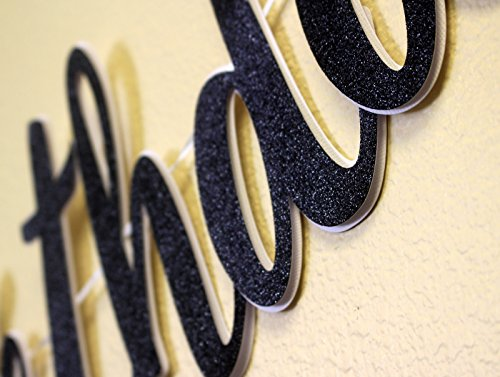 All About Details Happy 16th Birthday Cursive Banner, 16th Birthday Party Decoration (Black)