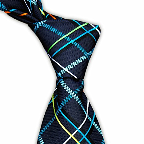 Blue Charcoal Tie with Multicolored Plaid Check Tartan Necktie by TieThis | The Logan Tie