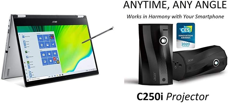 Acer Spin 3 Convertible Laptop with C250i Anytime, Any Angle Full HD Projector with Auto Portrait Projection