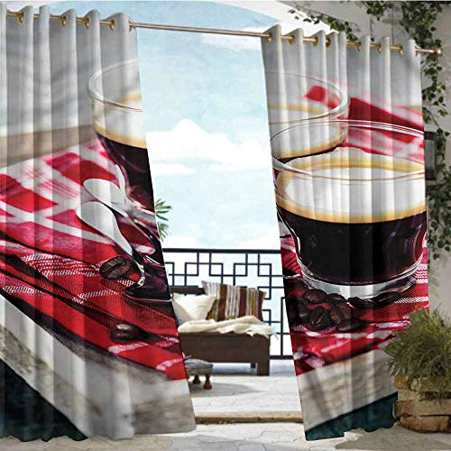Fashions Drape Coffee,Freshly Brewed Espresso,W108 xL84 Outdoor Curtain for Patio,Outdoor Patio Curtains