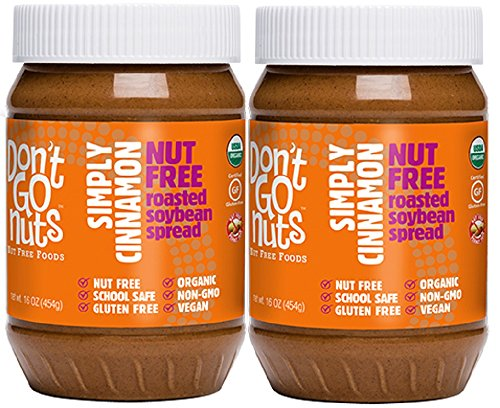 (Don't Go Nuts Roasted Soybean Spread, Simply Cinnamon, 2 Count, Nut-Free Non GMO Organic )