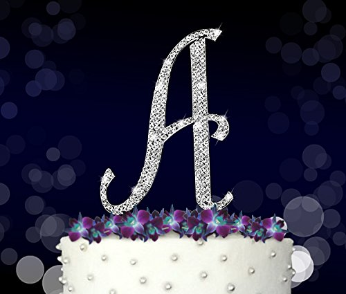 Price comparison product image Letter A,  Initials,  Happy Birthday Cake Topper,  Wedding,  Anniversary,  Vow Renewal,  Crystal Rhinestones on Silver Metal,  Party Decorations,  Favors