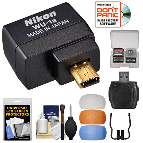 Nikon WU-1a Wireless Wi-Fi Mobile Adapter (for iPhone or Android) with 3 Flash Diffusers + Kit for DF, D3200, D3300, D5200 & D7100 Cameras (Certified Refurbished) ()