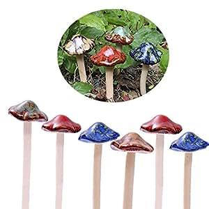 Coloridas setas de jardín, ENVEL Fairy Garden Seta Toadstool de cerámica [4-Color 6-Piezas] Garden Pots Decoration Ornamento de cerámica para DIY Dollhouse Potting Shed Flowerpot Plants Statue