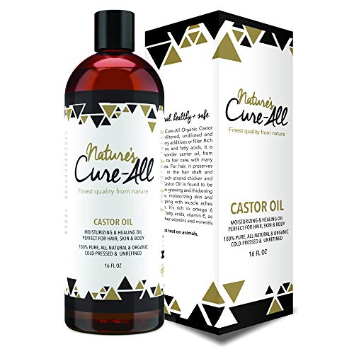 Nature's Cure-All Finest Quality Organic Castor Oil (16 oz) - 100% Natural Cold-pressed and Unrefined Oil - Moisturizing and Healing Oil - Perfect for Haircare and Best Skincare for the Whole Family