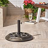 Great Deal Furniture Bonnie Outdoor Concrete Circular Umbrella Base | 44LBS | in Bronze