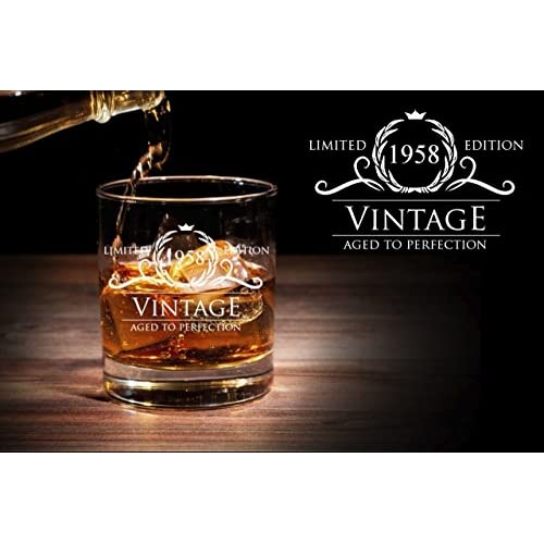 60OFF 1958 60th Birthday Gifts For Women And Men Whiskey Glass