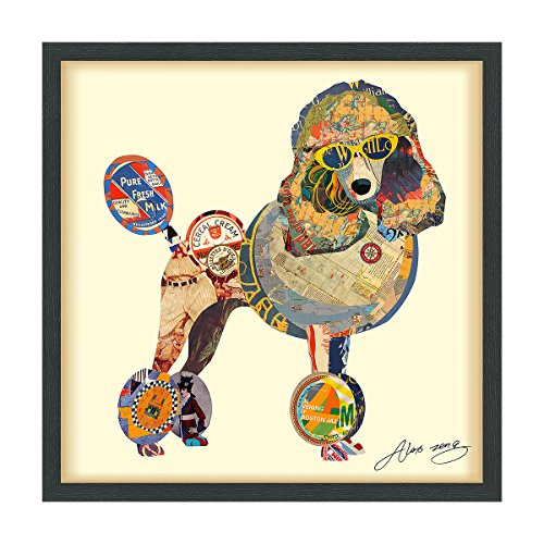 Empire Art Direct Poodle Dimensional Collage Handmade by Alex Zeng Framed Graphic Dog Wall Art, 25