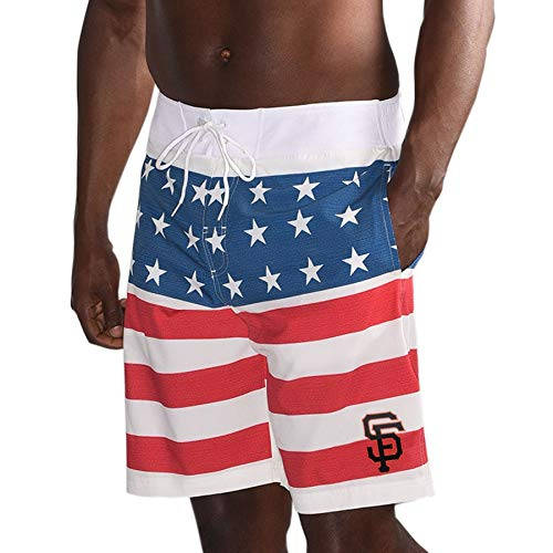 San Francisco G-III Sports by Carl Banks 2018 Memorial Day Patriotic Swim Trunks – Red/Navy (X-Large) - San Shorts Giants Francisco Mens
