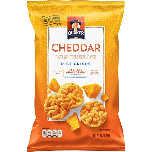 - Quaker Rice Crisps, Cheddar Cheese, 3.03 oz Bags, 12 Count (Packaging May Vary)