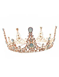 Wedding Bridal Bridesmaid Women Girls Gold Crystal Rhinestone Full Circle Round Tiara Crown