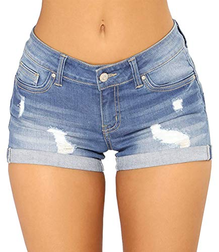 chouyatou Women's Perfectly Fit 5-Pockets Ripped Denim Jean Shorts (Small, Light Blue) (Junior Girls Short)
