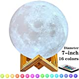 7 inch Moon Lamp,6inch,8inch,9inch,10inch and11inch Diameter Moon Light Lamps are Available, 3D Printing Moon Lamp with Stand,Touch Control and Remote Control with LED 16