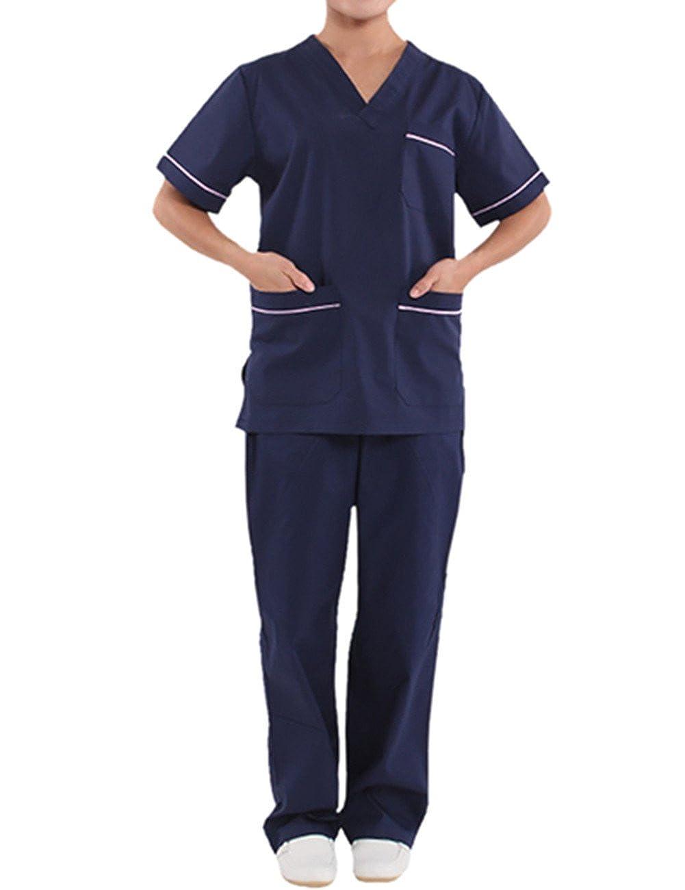 THEE Uniforme Médico Ropa Quirúrgica Bata Médico Laboratorio Enfermera Sanitaria Unisex: Amazon.es: Ropa y accesorios