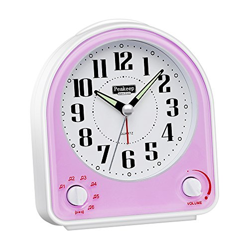 Peakeep Non-ticking Silent Alarm Clock, Optional 7 Wake-up Sounds with Volume Control, Nightlight and Snooze, AA Battery Operated and Included ( Light Purple) (Alarm Birdsong Clock)