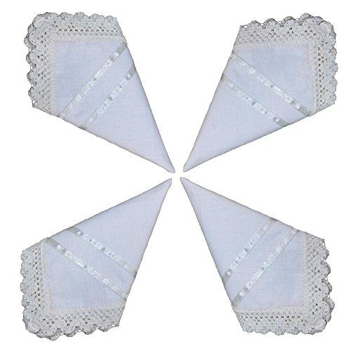 Set of 4 Pure white Handkerchief Cotton Bridal Wedding Crochet Lace with Satin Ribbon Premium Cotton