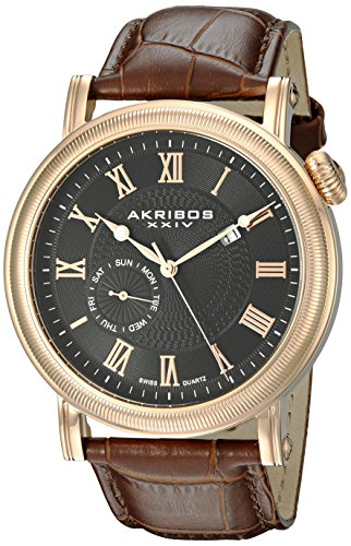 Edged Bezels - Akribos XXIV Men's AK673RG Swiss Quartz Movement Watch with Black Dial and Coin Edged Bezel with Brown Leather Strap