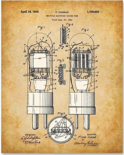 Vacuum Tube - 11x14 Unframed Patent Print - Great Gift Under $15 for Amateur Radio Operators and Stereophiles