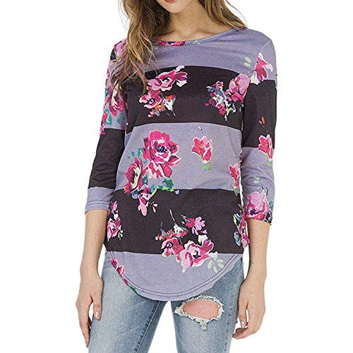 S Col Blouse Femme Rond Manches Impression Dames XL Shirt Longues Violet Tops T Mode Xinantime Chemisier Femmes xAwnf6qFq