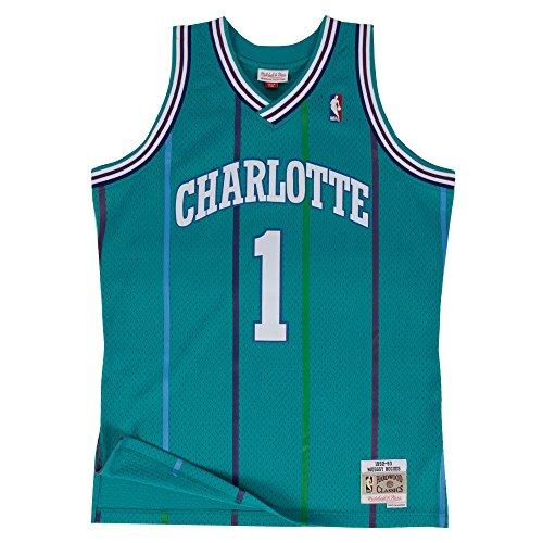 Mitchell & Ness Charlotte Hornets Muggsy Bogues Swingman Jersey (Aqua, M)