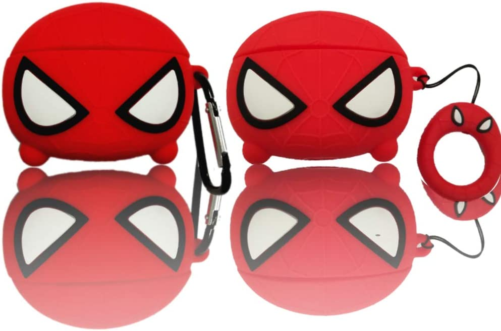 Carton Cool Kawaii Airpods Pro Cute Funny Custom Fit Apple Airpods 3 Soft 3D Wireless Earbuds Cover Case for AirPods Pro Accessories Kits Colorful Fun Lucky Cat,Red Spider Man Red Spider Man