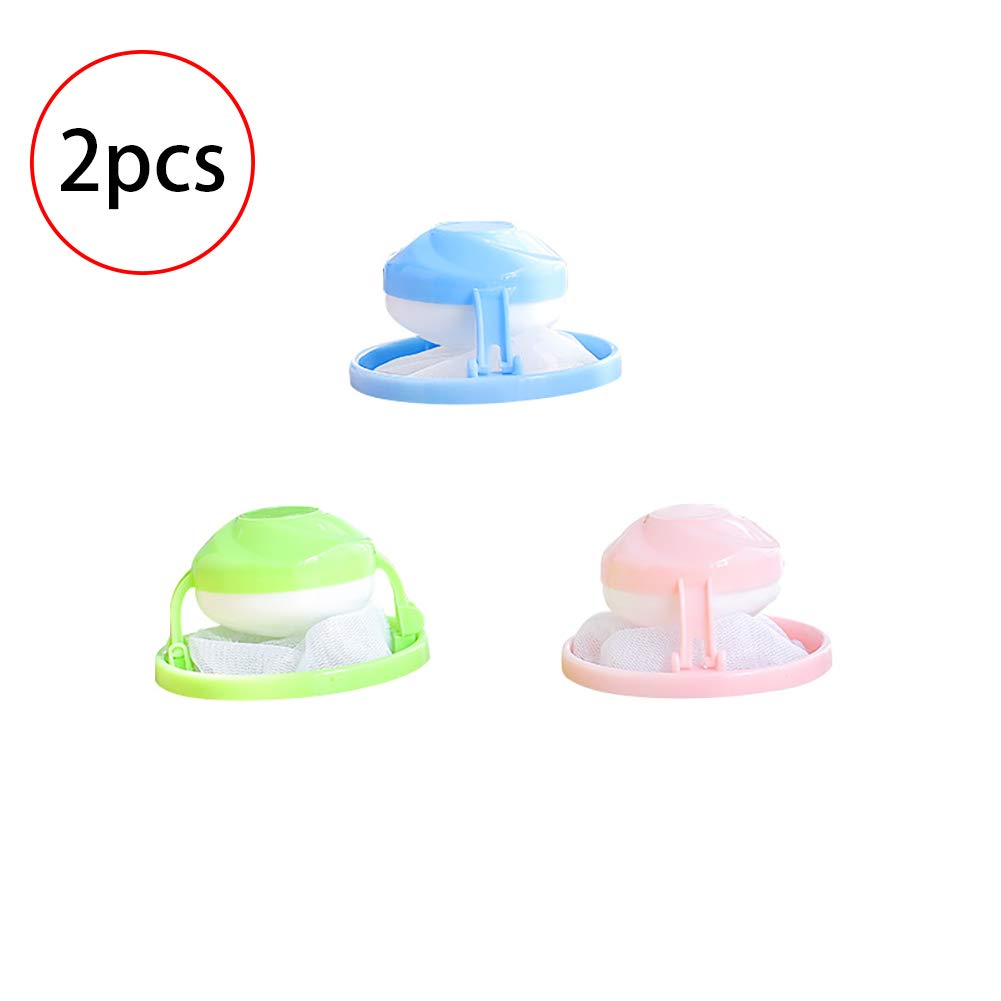 2 Pieces Household Reusable Washing Machine Floating Lint Mesh Bag Hair Filter Net Pouch Cotowin