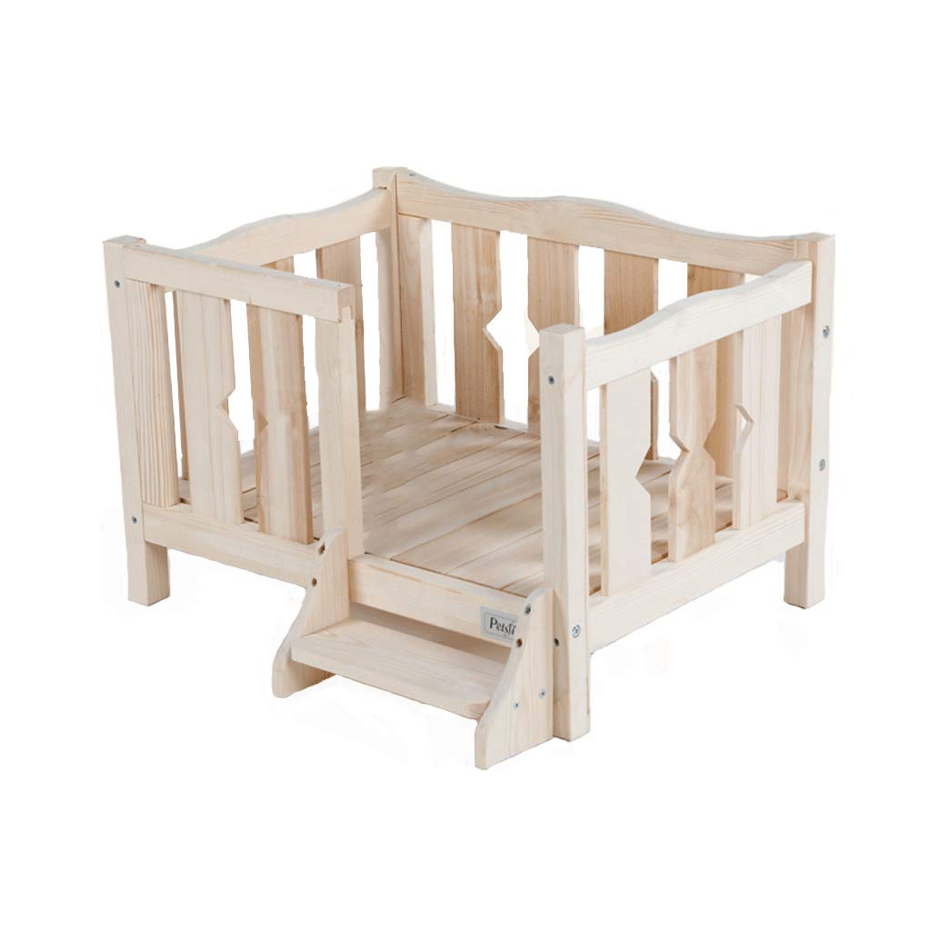 A Pet nest dog bed solid wood pet wooden bed puppies nest Teddy cat litter dog house dog house bunk bed single layer no top package size 60.5  45  14.2cm