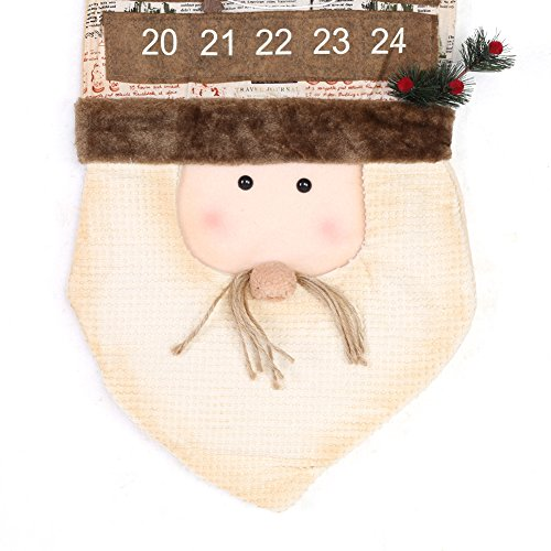 TOPINCN Christmas Hanging Calendar Christmas Decoration Festival Countdown with 24 Drawers Door Wall Ornament Decoration(Santa Claus) by TOPINCN (Image #5)