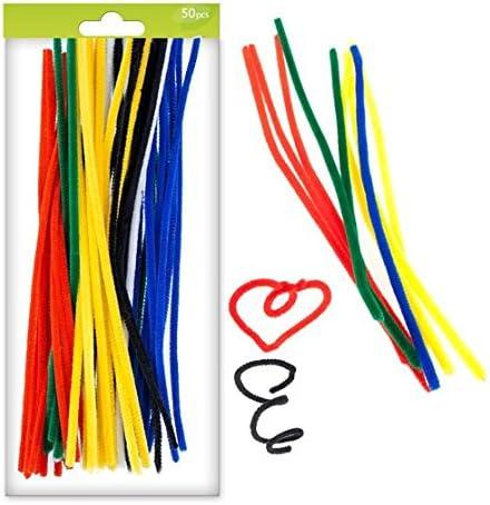 Lot de 50 fils chenille cure-pipe de couleur longueur 30 cm pour loisirs cr/éatifs scrapbooking