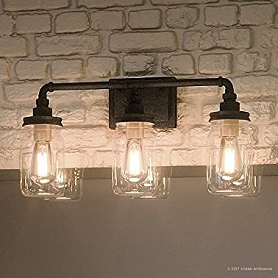"Luxury Industrial Bathroom Light, Medium Size: 11""H x 21.5""W, with Shabby Chic Style Elements, Aged Pipe Design, Antique Black Finish and Mason Jar With Floral Pattern, UQL2662 by Urban Ambiance"