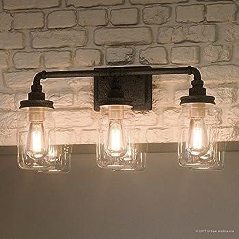 Kichler lighting 3 light barrington distressed black and - Black bathroom lighting fixtures ...