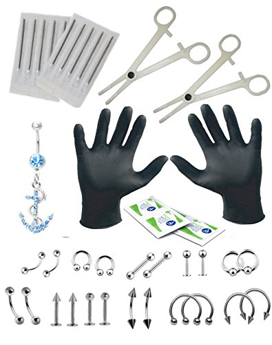 BodyJ4You 36PCS Professional Piercing Kit Steel 14G 16G Anchor Belly Ring Tongue Tragus Nipple Lip Nose Jewelry - Body Piercing Surgical Tools