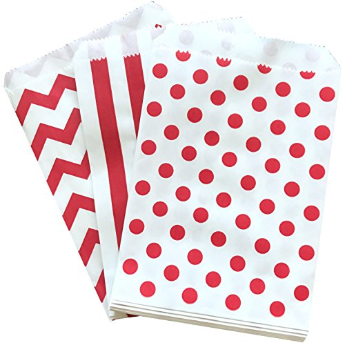 Red and White Stripe Chevron Dot Paper Treat Sacks - Favor Bags - 5.5 x 7.5 Inches - 48 Pack]()