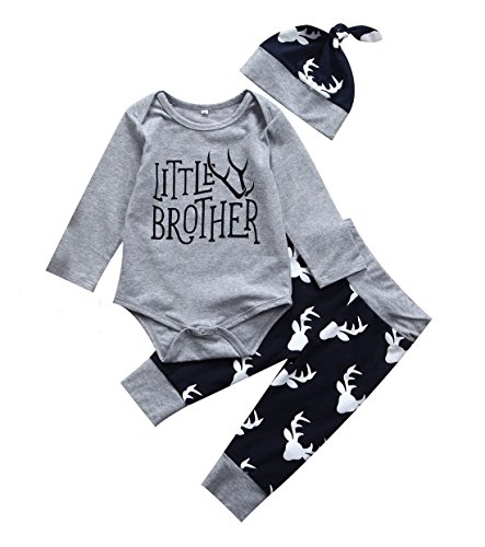 Boys Big Brother T Shirt Match Little Brother Baby Bodysuits Deer Pants Xmas Outfits (9-12M, Little)