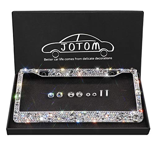 JOTOM 1 Pack Bling Bling Waterproof License Plate Frame - Handcrafted Finest 14 Facets SS20 Glitter Diamond Stainless Steel License Plate Frame with Anti-Theft Screw Caps (Laxury Crystal)