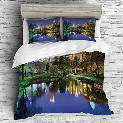TWIN Size Cute 3 Piece Duvet Cover Sets Bedding Set Collection [ City,North Carolina Marshall Park United States American Night Reflections on Lake Photo,Multicolor ] Comforter Cover Set for Kids Girl