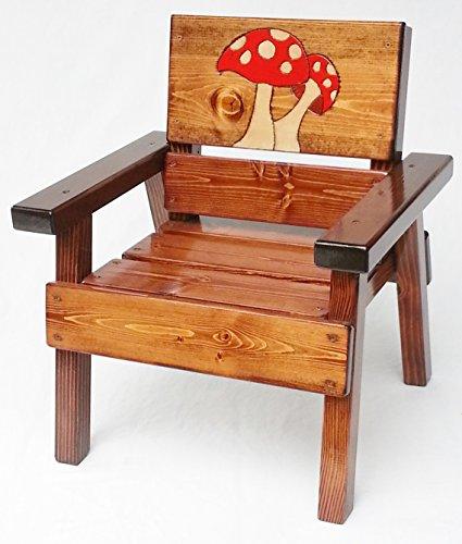 Kids Painted Wood Chair, Indoor/Outdoor Childrens' Furniture, Engraved Mushrooms