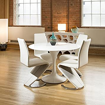 Tulip Style Round Dining Table White Gloss 4 White Z Shape