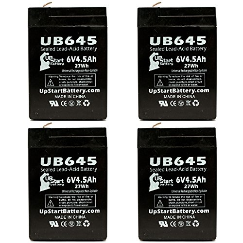 4x Pack - UB645 Universal Sealed Lead Acid Battery (6V, 4.5Ah, 4500mAh, F1 Terminal, AGM, SLA) - Includes 8 F1 to F2 Terminal Adapters - Compatible with GS/Portalac PE6V4.5F1, Sheng Yang SY640