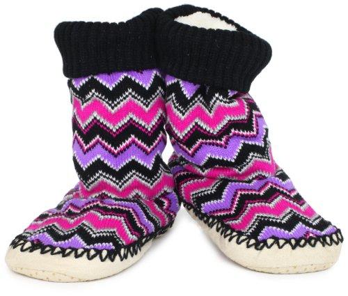 Jacques Moret Juniors Tall Slouch Zig Zag Stripe Slipper Sock, Black, Small/Medium