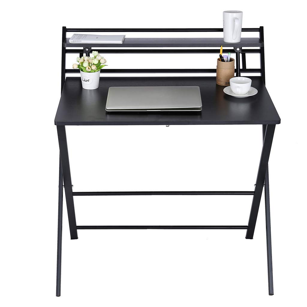 QIANSKY Mobile Compact Computer Desk - Desktop Home Simple Desk Simple Desk Home Office Desk - Notebook Tablet Beside Bed Sofa Portable Workstation - Over Bed Table - for Home Office (Black) by QIANSKY