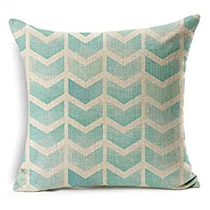 """HomeChoice Cotton Linen Vintage Retro Arrows Striped Durable Home Square Decorative Throw Pillow Cover Accent Cushion Cover Pillow Shell Bed Pillow Case For Car Safa 18 By 18 Inches (18""""X18""""),Aqua Blue"""