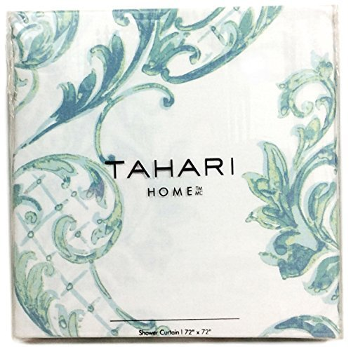 Tahari Home Fabric Shower Curtain Chinoisserie Damask Paisley Scroll Medallion Turquoise, Aqua, SPA Blue on White 72 x 72