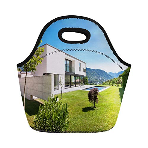 - Semtomn Lunch Bags Green House Modern Villa Pool View From the Garden Neoprene Lunch Bag Lunchbox Tote Bag Portable Picnic Bag Cooler Bag