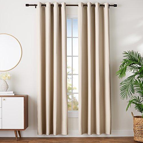 "AmazonBasics Room-Darkening Blackout Curtain Set with Grommets - 52"" x 96"", Grey-Beige"