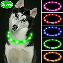Vizbrite Led Dog Collar, USB Rechargeable Flashing Pet Safety Collar, Cut to Revise Length Silicon Dog Collar for Small Medium Large Dogs by (Green)