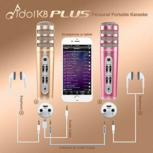 Idol K8 Plus Karaoke Condenser Microphone | Wired | Enhanced Power Output | Echo & Volume & Bass & Treble Control Button (Rose Gold) by Full Power (Image #4)