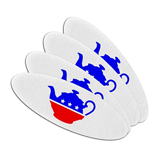 Political Emery Boards - Tea Party Movement Political Double-Sided Oval Nail File Emery Board Set 4 Pack